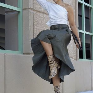 Topshop Leather Midi Skirt